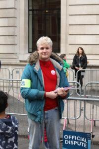 Prospect rep Luke Jackson on strike at the Science Museum