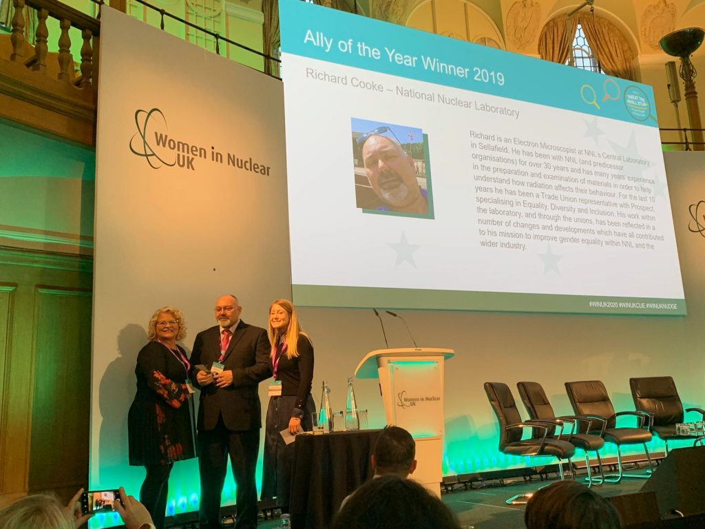 Richard Cooke receiving his WIN award