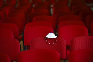Theatre seats with COVID mask, from Getty Images
