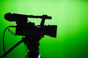 Video camera with a green background (for story about BFI sustainability report)