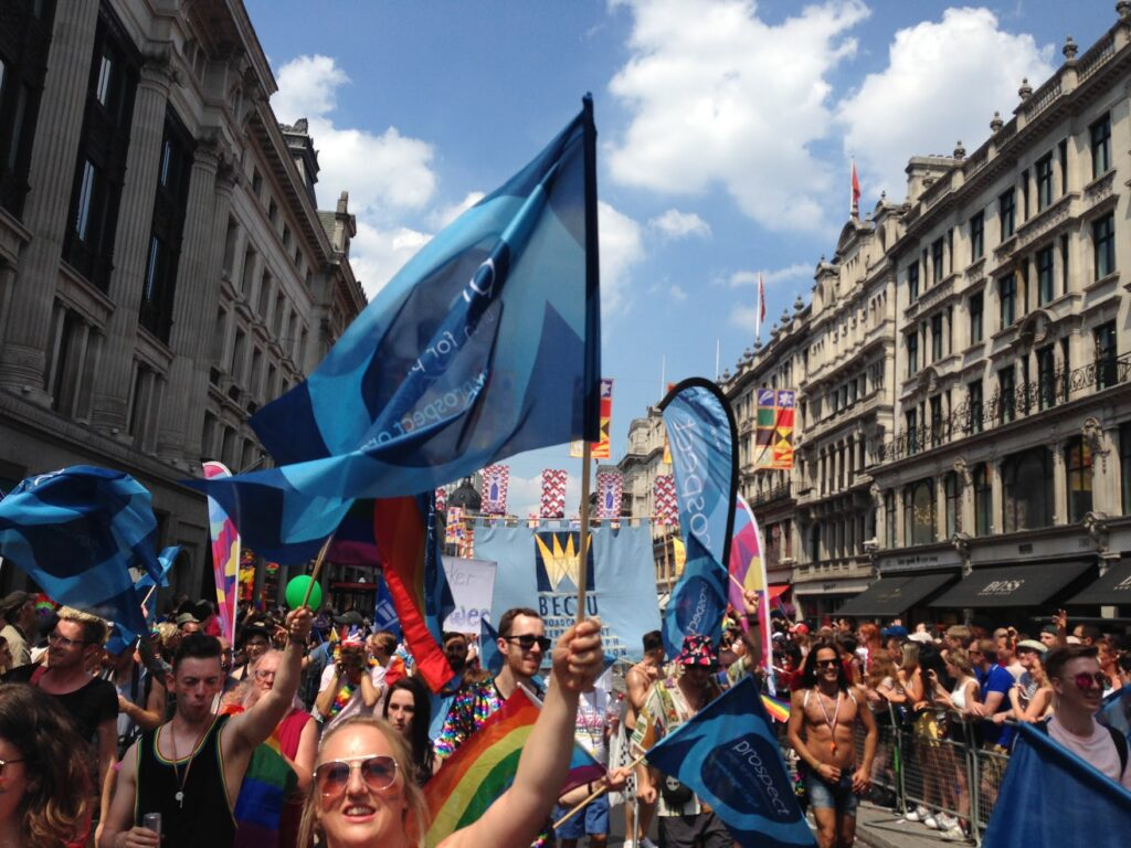 Prospect and Bectu members carry the banner at London Pride 2018