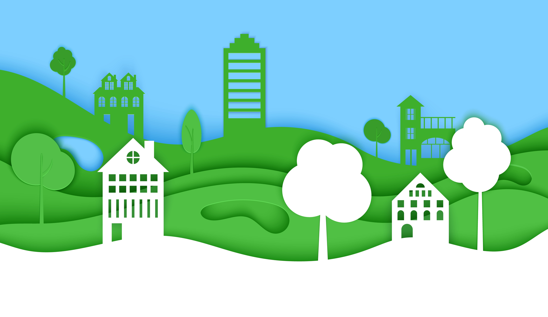 Cutout paper trees and building green wave and blue sky. Template in cut paper style for save the Earth posters, city ecology brochures